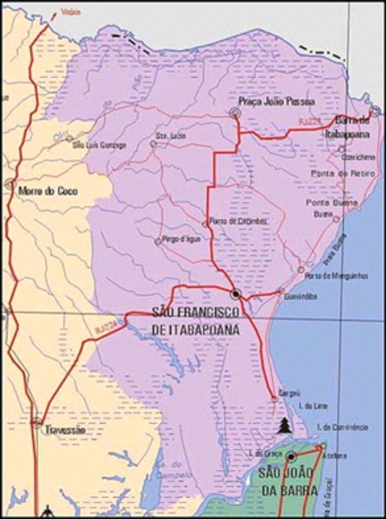 Mapa do município de São Francisco de Itabapoana